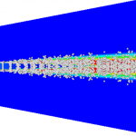 Model of the particle distribution of the dispersed phase in the fluid-phase carrier.