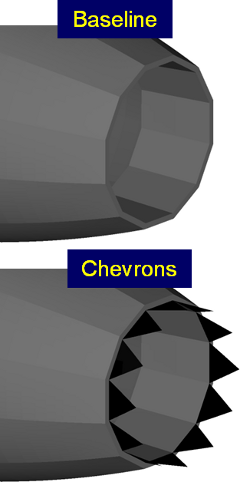 Illustration of jet engine exit with and without chevrons