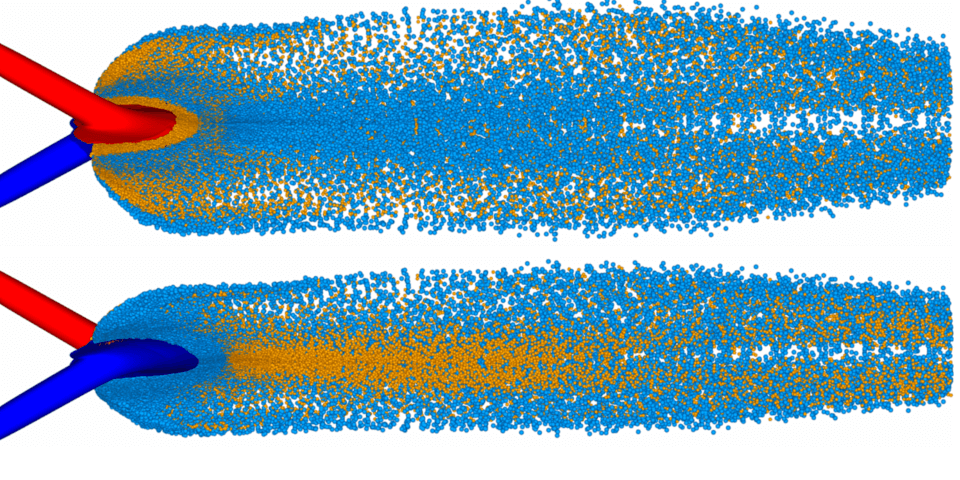 Simulation of an unlike-doublet using CRUNCH CFD ®.